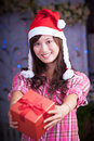 Merry chrismas young asian girl with present box Royalty Free Stock Photos