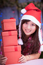 Merry chrismas young asian girl with present box Stock Image