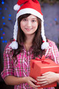 Merry chrismas young asian girl with present box Stock Photos