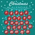 Merry Christmas. Advent calendar Holiday template with Christmas balls numbers for Christmas calendar Royalty Free Stock Photo