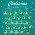 Merry Christmas. Advent calendar Holiday template with Christmas trees with numbers for Christmas calendar Royalty Free Stock Photo