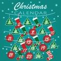 Merry Christmas. Advent calendar Holiday template with Christmas socks, balls and Christmas trees with numbers for Christmas Royalty Free Stock Photo