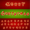 Merry christmas alphabetic font with sticker style vector eps Stock Photography