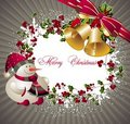 Merry Christmas background with bells and snowman Stock Photography