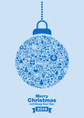 Merry christmas background blue bauble filled with festive signs on top of message Stock Photo