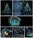 Merry christmas background collections gold and blue Stock Photos