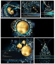 Merry christmas background collections gold and blue Royalty Free Stock Photo