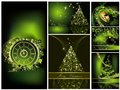 Merry christmas background collections gold and green Royalty Free Stock Photos