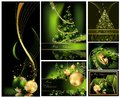 Merry christmas background collections gold and green Stock Images