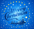 Merry christmas background illustration of blue with snow stars and picturesque village church Royalty Free Stock Images
