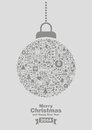 Merry christmas background illustration of with decorative bauble Stock Image