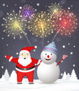 Merry christmas background santa claus with snowm snowman explosions of salutes Royalty Free Stock Photo