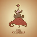 Merry christmas background with tree illustration Royalty Free Stock Photo
