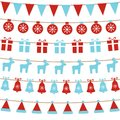 Merry Christmas background with xmas bunting flags, balls, gift boxes, reindeers, bells, santa hat. Bright Christmas garlands. Win