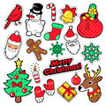 Merry Christmas Badges, Patches, Stickers - Santa Claus, Snowman, Snowflake, Christmas Tree in Pop Art Comic Style