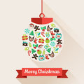 Merry christmas ball greeting card with a and a ribbon with message Royalty Free Stock Images