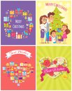 Merry Christmas Banners Set Vector Illustration