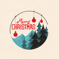 Merry christmas bauble with trees vector illustration Stock Photos