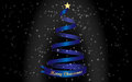 Merry christmas and a blue christmas tree gold text Stock Image