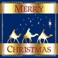 Merry Christmas Blue Wisemen Royalty Free Stock Photo