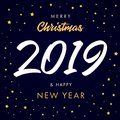 Vector modern minimalistic Happy new year card for 2019