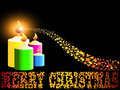 Merry Christmas candle and gold comet shooting Royalty Free Stock Photo