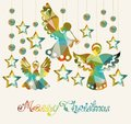 Merry christmas card with angels and decorations and text Stock Photography
