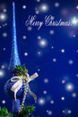Merry christmas card with balls on a blue background Stock Photos
