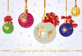Merry christmas card with balls colorful knots and horses Stock Photo