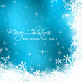 Merry christmas card with blue background sample Royalty Free Stock Image