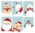 Merry christmas card cartoon hand drawn style.vector Royalty Free Stock Photo