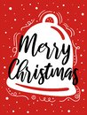 Merry Christmas Card With Cute Bell, Snowflakes, Text. Doodle Winter Holidays, Noel Background, Poster