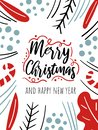 Merry Christmas Card With Cute Plants, Berries, Fur Tree Branches, Leaves, Text. Doodle Winter Holidays, Noel Background
