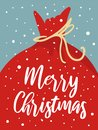 Merry Christmas Card With Cute Santa Bag, Snowflakes, Text. Doodle Winter Holidays, Noel Background, Poster