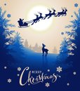 Merry Christmas card design text. Young deer looks up at silhouette Santa sleigh of reindeer in night sky. Winter fairy forest Royalty Free Stock Photo