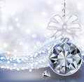 Merry christmas card with diamond ball vector illustration Royalty Free Stock Images