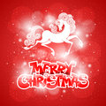 Merry christmas card with fairy horse symbol of year Royalty Free Stock Images