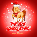 Merry christmas card with funny horse symbol of year Stock Photos