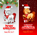 Merry christmas card with funny horse symbol of year Royalty Free Stock Image