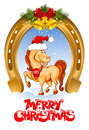 Merry christmas card with funny horse symbol of year Stock Images
