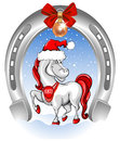 Merry christmas card with funny horse symbol of year Stock Image