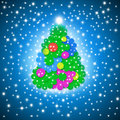 Merry christmas card funny tree multicolored flowers on blue sky background with stars Stock Photos