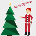 Merry Christmas card with green tree, yellow star on background. Boy in Santa's costume. Vector illustration editable template.