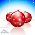 Merry christmas card greeting with xmas balls and shining stars Stock Photo