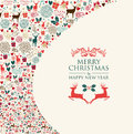 Merry christmas card holiday colorful elements background eps vector file organized in layers for easy editing Stock Image