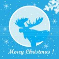 Merry christmas card with moose silhouette fir branches and snowflakes Royalty Free Stock Images