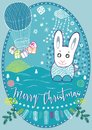 Merry Christmas card with rabbit and flying balloon Royalty Free Stock Photo