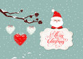 stock image of  Merry christmas card with santa claus and hearts