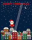 Merry Christmas card with Santa Claus, old town, night sky, stairs on blue background. Royalty Free Stock Photo