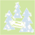 Merry christmas card with snow and christmas trees for your design Stock Image
